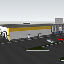 Plan of large industrial building in South Florida